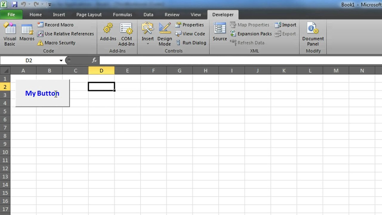 VBA Excel: Create a Button - YouTube