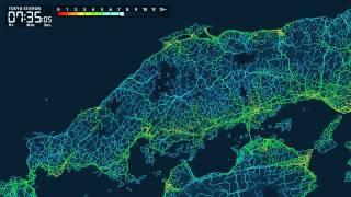 なぜか目が離せない!東京駅から日本全国への「到達所要時間マップ」がすごい