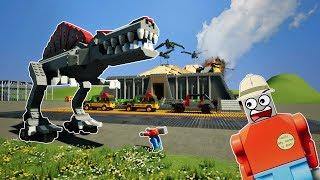 LEGO JURASSIC PARK DINOSAURS DESTROY CITY! - Brick Rigs Gameplay Challenge & Creations