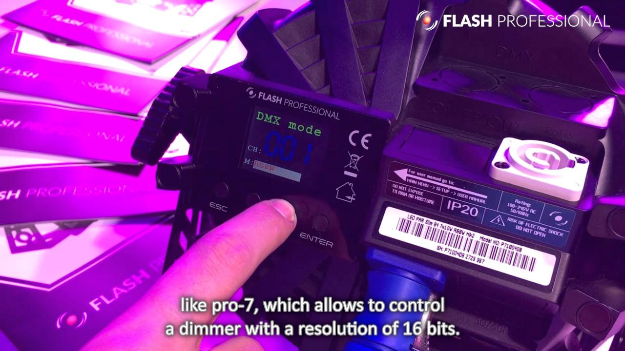 Flash Professional LED PAR Slim 7x10W RGBW Mk2 - 16-bit, dimming curves  etc  [ENG Subtitles]