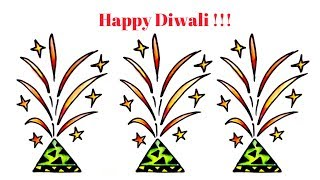 Happy Diwali Fire crackers drawing   How to Draw Diwali Fountain   Diwali Special drawing