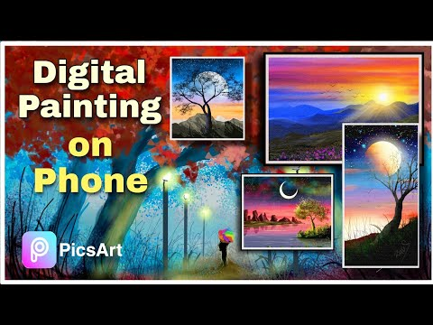 Relaxing Nature landscape digital painting | Picsart Painting Tutorial | mobile phone art