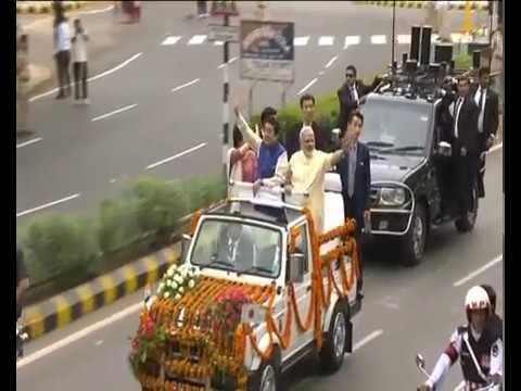 Rousing Reception for PM Shri Narendra Modi & Japanese PM Shinzo Abe in Gujarat : 13.09.2017