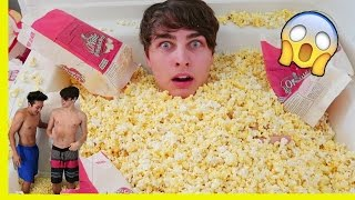 1,000,000 PIECES OF POPCORN in BATHTUB (bad idea)