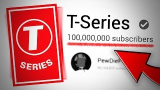 T-Series is now the FIRST channel to hit 100 Million Subscribers | Pewdiepie Vs T-Series