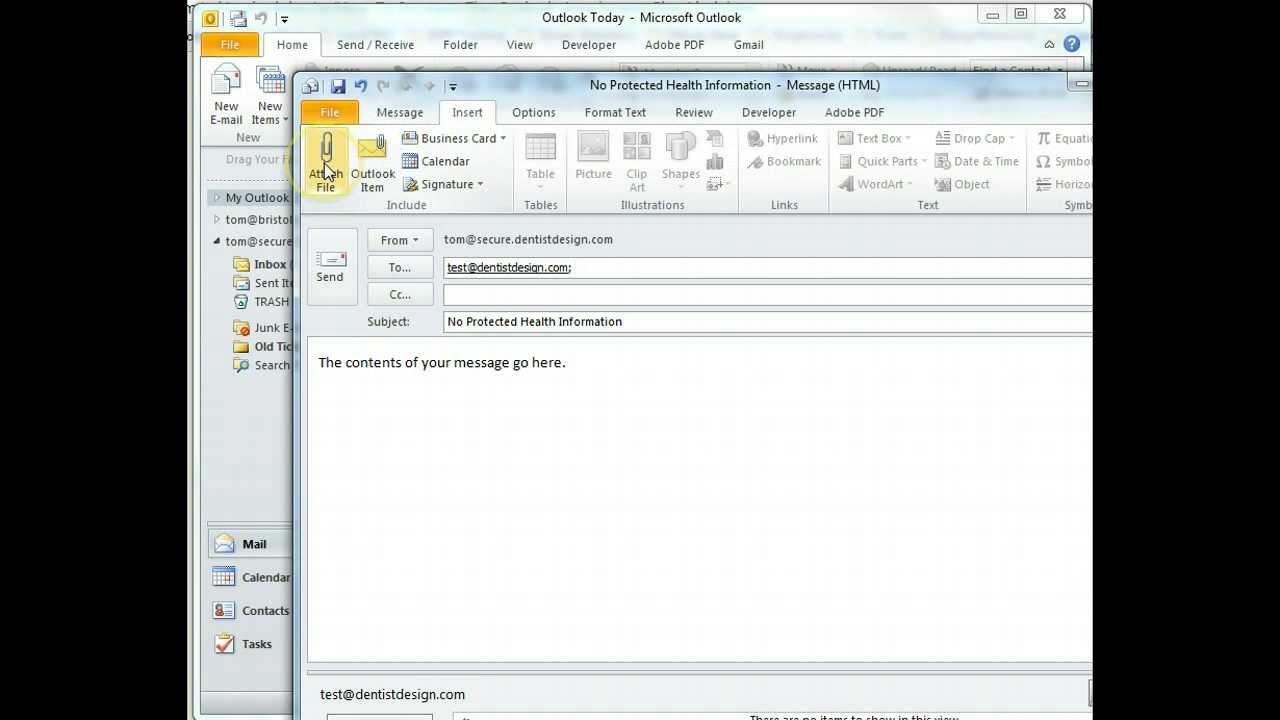 Sending Secure Email in Outlook