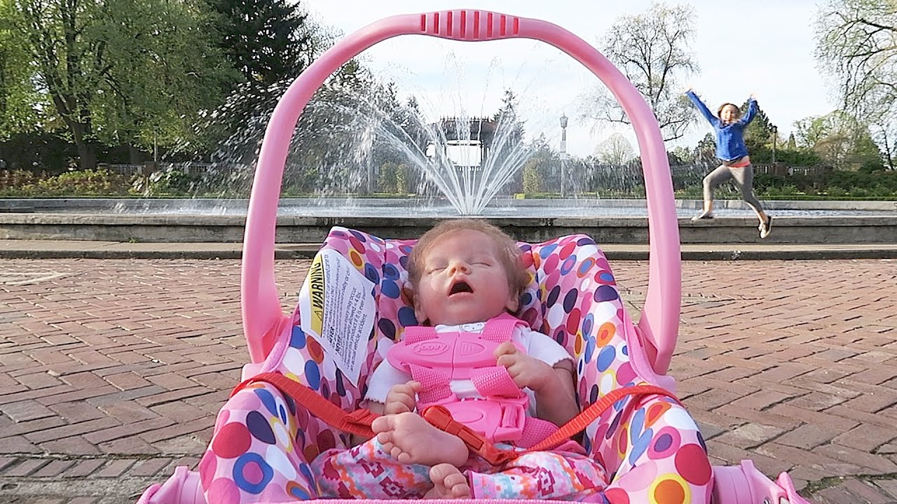 Reborn Baby Doll At The Park In Joovy Doll Stroller Youtube