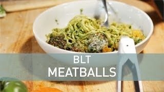 Blt Pasta Recipe With Bacon Meatballs And Pesto   Youtube