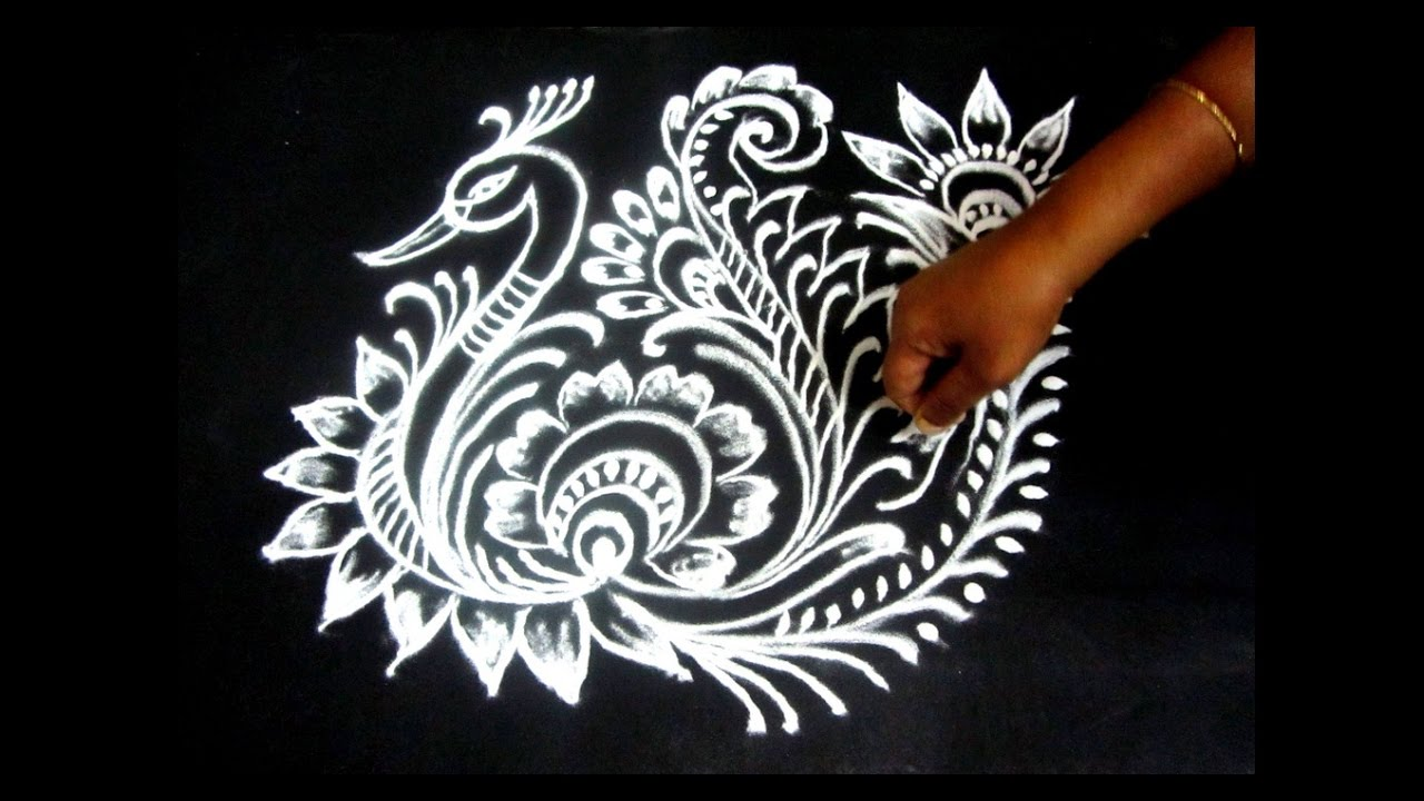 How To Draw Peacock Rangoli Step By Step Interesting Diy Peacock