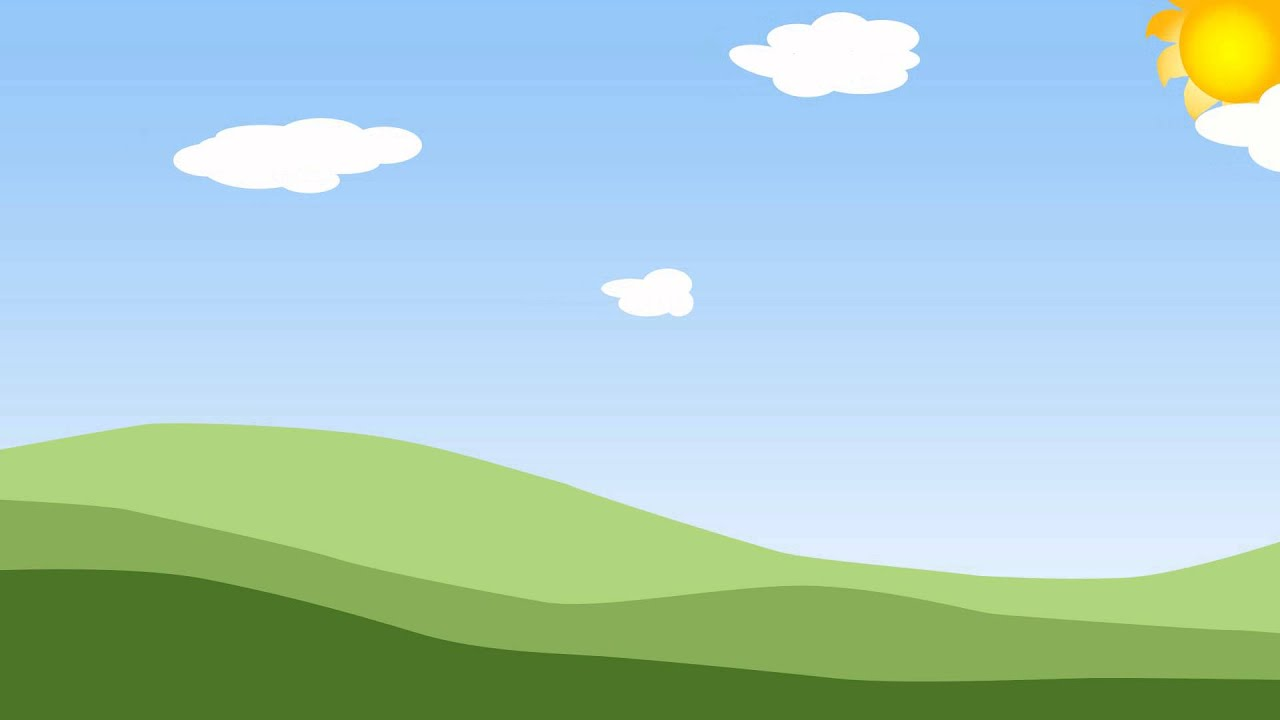 Animated clouds on a blue sky with green grass YouTube
