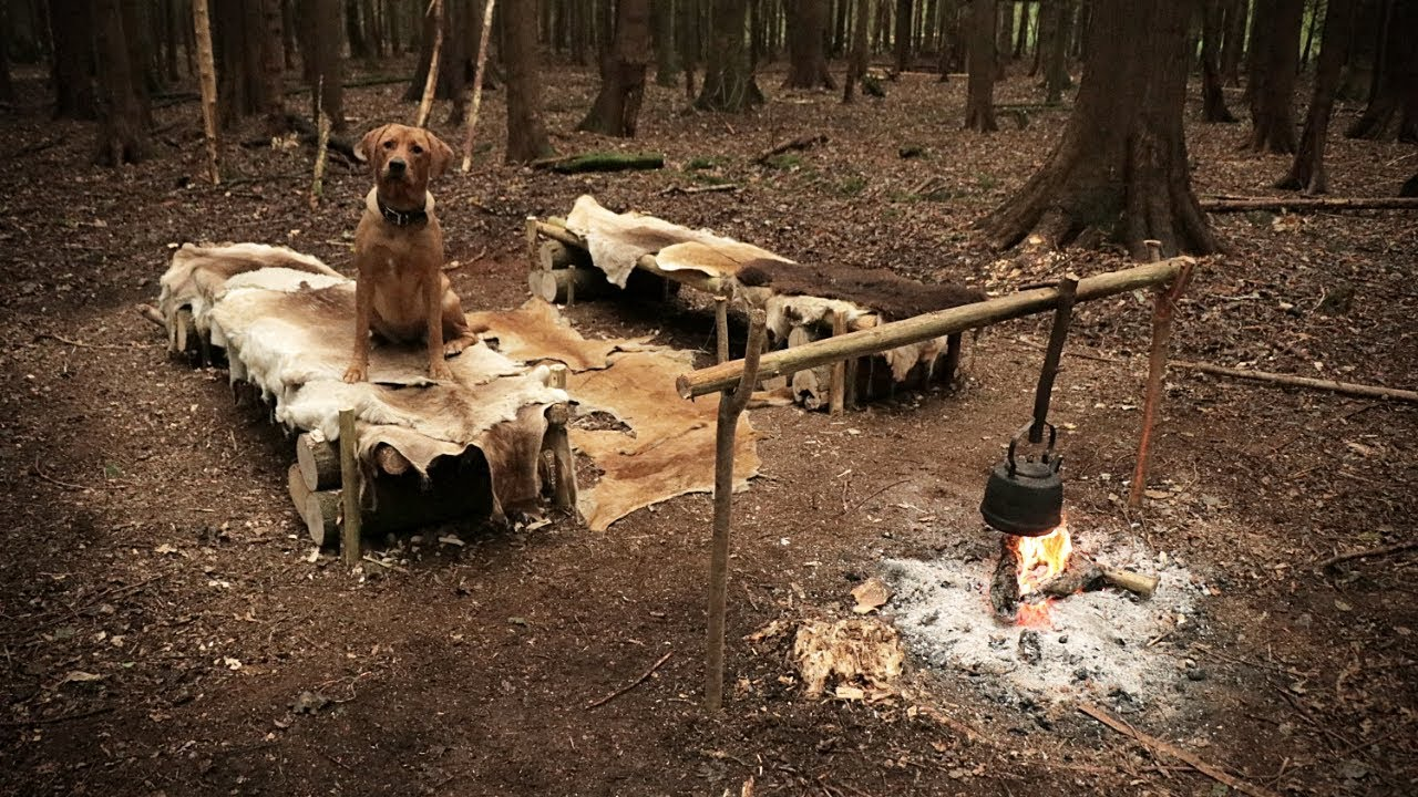 2 Day Bushcraft Camp With A Dog Deer Hide Beds Camp