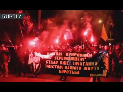 Nationalists hold torchlit march in Ukraine to mark anniversary of Nazi collaborator Bandera