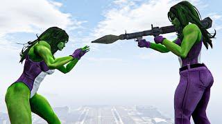 She Hulk vs She Hulk | Lady Hulk killed She Hulk Jumps Fails Funny Moments GTA 5 Water Ragdolls