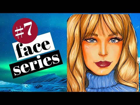 How to DRAW & SHADE a WHIMSICAL Scandinavian Face with Bangs in Copic Markers (Whimsical Women #7)