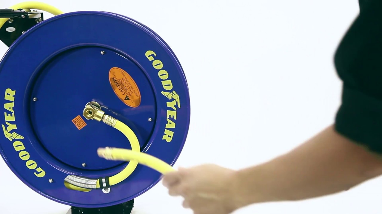 GOODYEAR- Retractable Air/Water Hose Reel; 3/8 in. x 50 ft. & GOODYEAR- Retractable Air/Water Hose Reel; 3/8 in. x 50 ft. - YouTube
