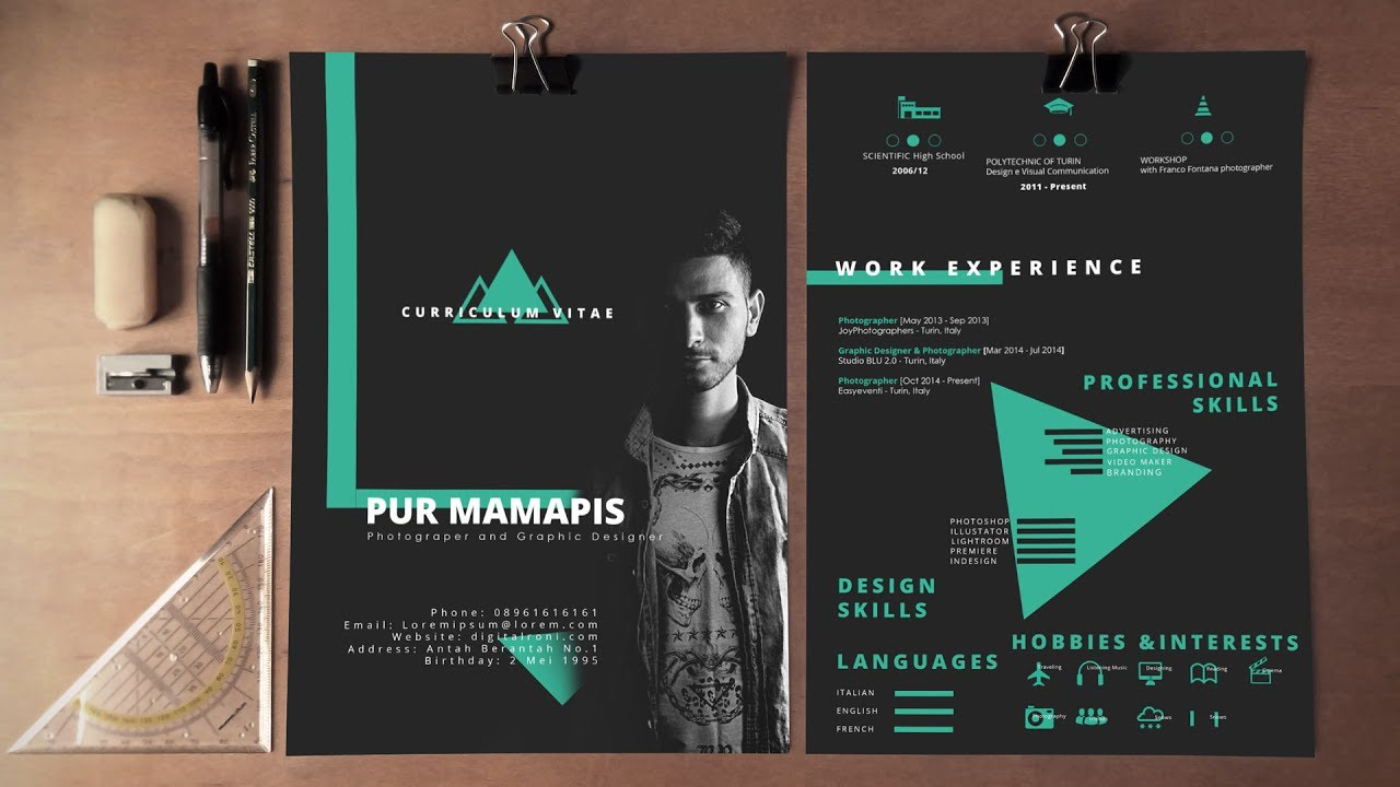self promotion resume    cv dark theme photoshop
