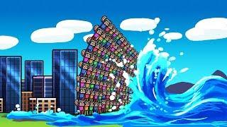 TSUNAMI VS FAN BASE CHALLENGE! (Minecraft Tsunami Challenge)