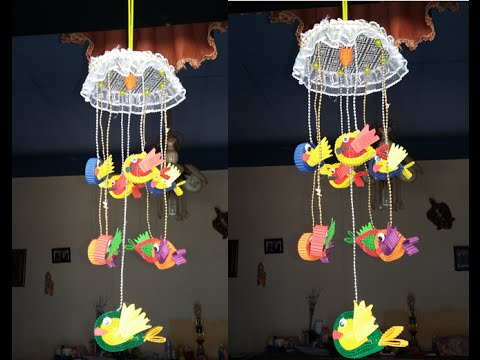 DIY Hanging Ornaments Fish From Old CDS And Corrugated Paper (easy And Simple)