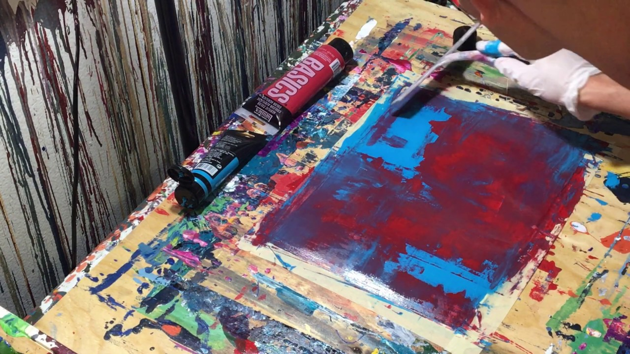 Ice And Fire Simple Two Tone Abstract Painting Rubber Squeegee Red Blue Acrylic Paint