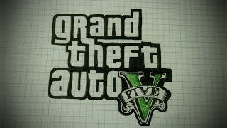 Как нарисовать логотип GTA 5 (GTA V) #39/ How to draw Grand theft Auto V (GTA V)