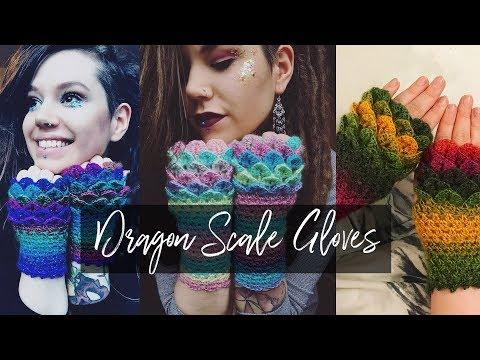 Crochet Dragon scale gloves   easy tutorial
