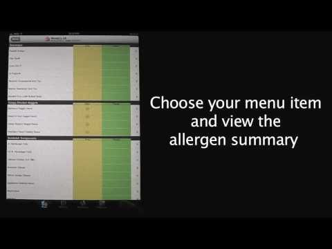 Allergy and Gluten Free Fast Food Menu Helper App