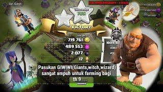 Strategi farming di th 9 dengan menggunakan pasukan GIWIWI !!!! |clash of clans attack#2