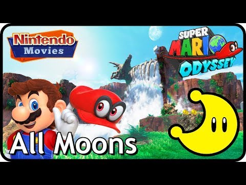 Super Mario Odyssey - Cascade Kingdom - All Moons (in order with timestamps)