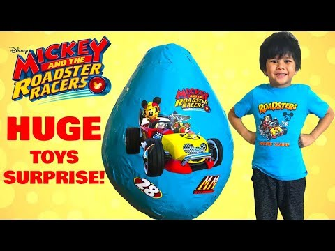 Mickey And The Roadster Racers Toys Giant Egg Surprise Opening Fun With TBTFUNTV