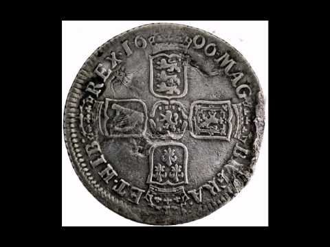 1696 William III of great Britain silver shilling York mint 4