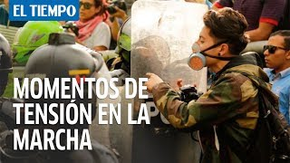 Disturbios en la marcha estudiantil en el norte de Bogotá