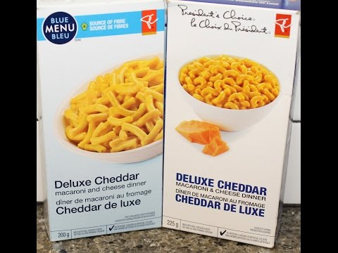 From Canada President's Choice Deluxe Cheddar Macaroni & Cheese Dinner: Blue Menu vs Original