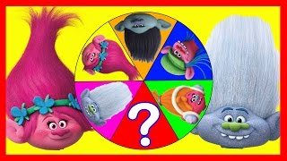 Trolls Movie Spin The Wheel Game with  Mystery Guest, Slime, Squishy Toys, Smurfs and Mickey