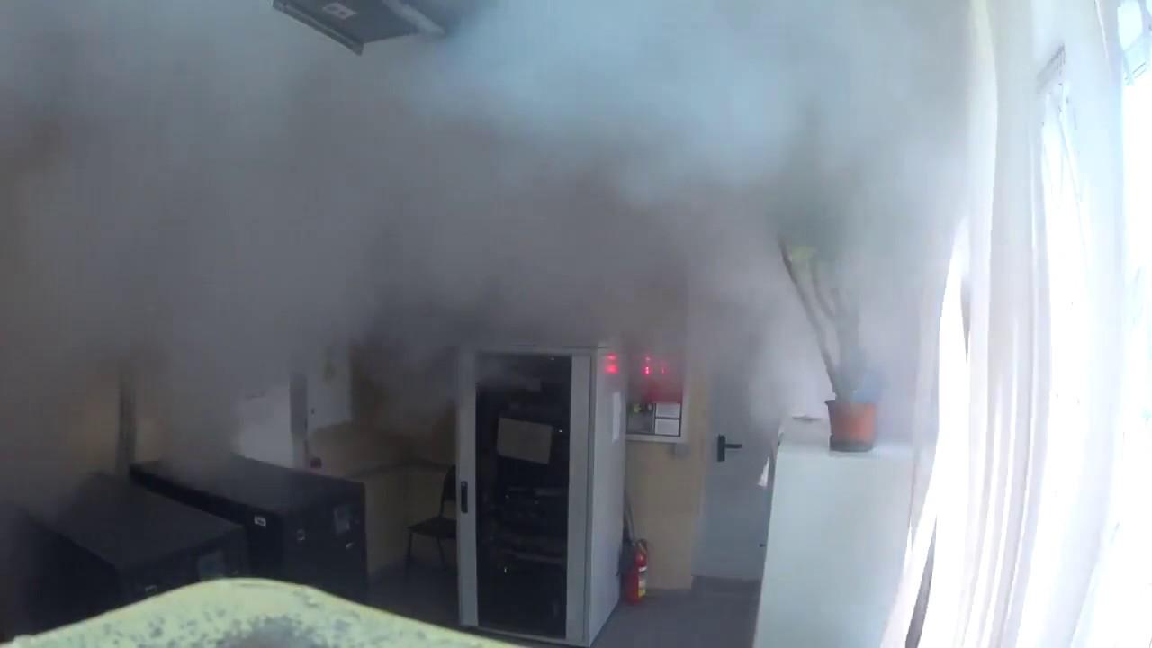Работа газовой установки пожаротушения