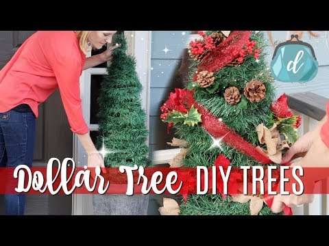 DOLLAR TREE CHRISTMAS DIYS 🎄 Giant Porch Trees for CHEAP!