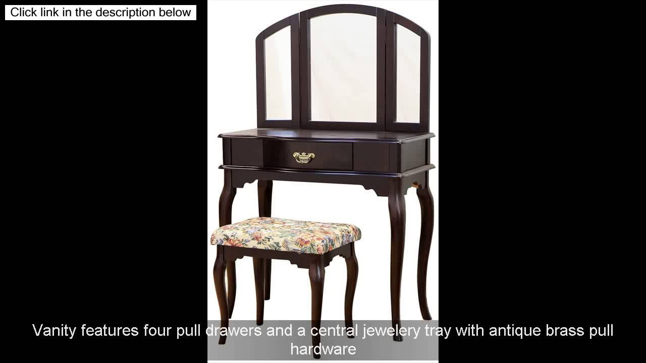 Frenchi Home Furnishing Queen Anne Style 3 Piece Vanity Set W Stool Espresso Finish