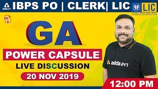 GA Power Capsule #LIVE Discussion for IBPS PO, Clerk, LIC Assistant - 20 Nov 2019