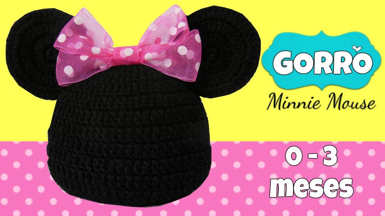 Gorro sencillo Minnie mouse tejido a crochet 0-3 meses - YouTube