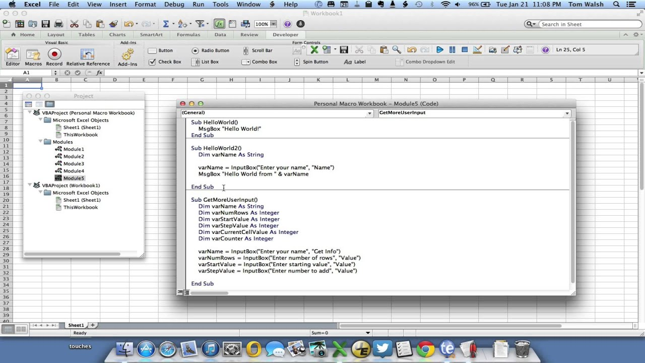 VBA Excel for Mac VBA For Next Loop Macro - YouTube