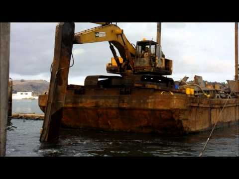 Hayden Bay Moves barge in with excavator assistance.