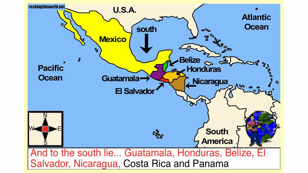 Central America Geography Song YouTube - Map of costa rica central america