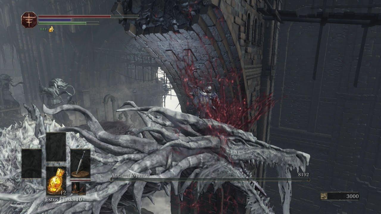 Dark souls ancient wyvern boss fight kill w hit
