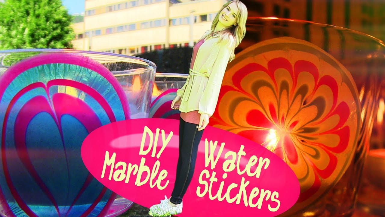 Diy water marble room decor how to make stickers at home for Decoration items made at home