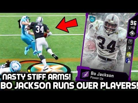 BO JACKSON TRUCKS EVERY DEFENDER! INSANE TRUCKS & STIFF ARMS! Madden 20 Ultimate Team