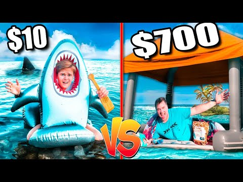 $10 VS $700 Floating Raft Fort On The Ocean  Budget Challenge!