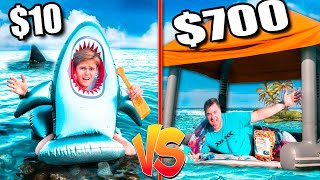$10 VS $700 Floating Raft Fort On The Ocean  *Budget Challenge*