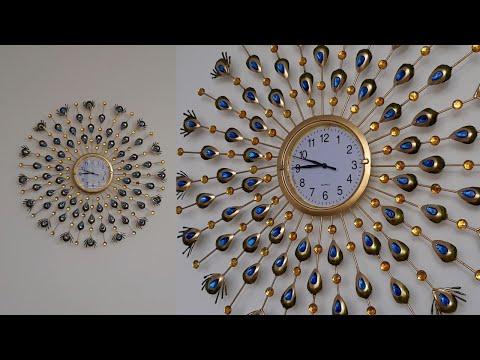 RELOJ con motivo de pavo real. Reloj decorativo - Peacock clock
