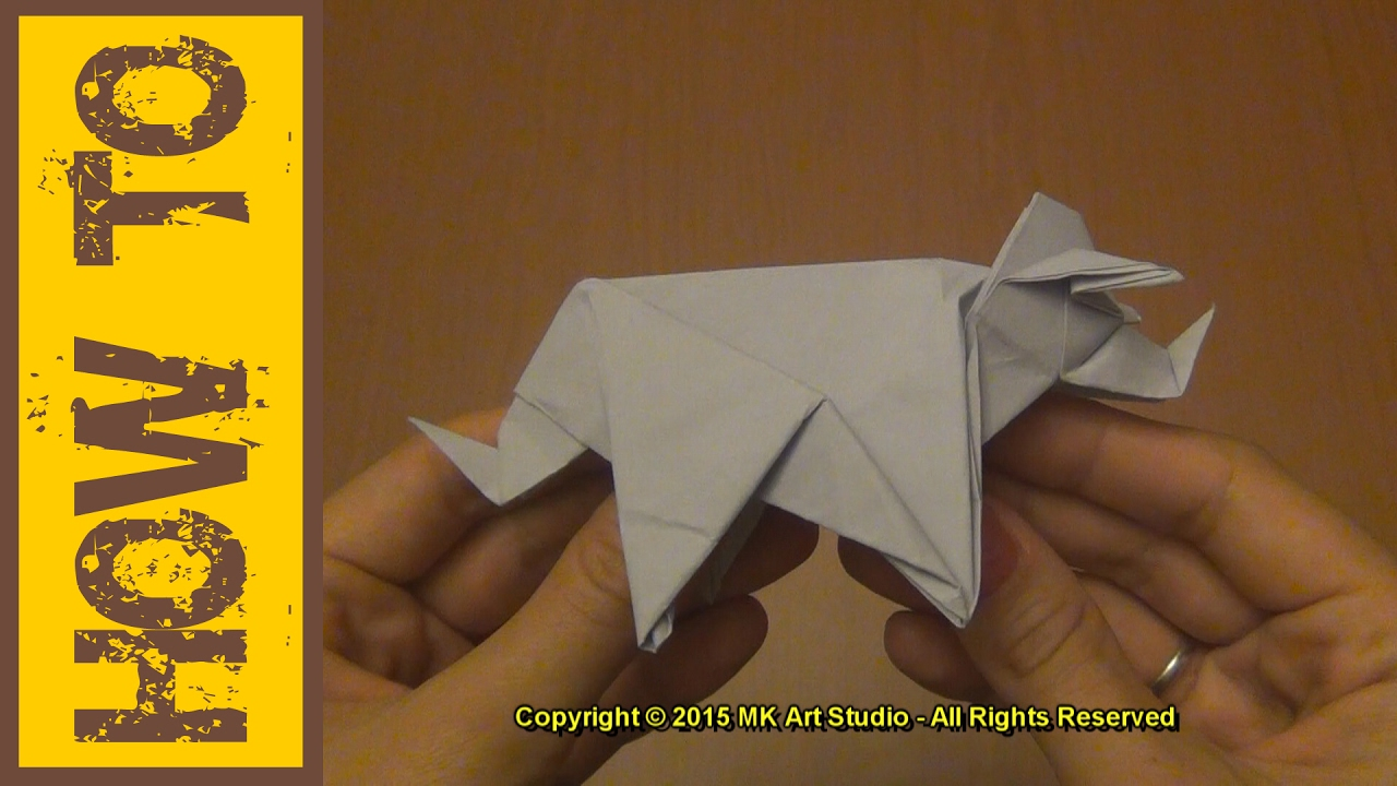 how to make a paper dinosaur origami triceratops youtube