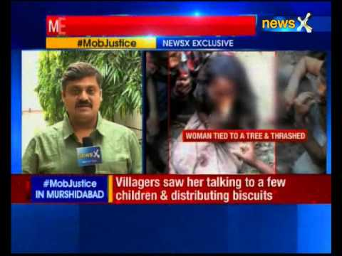 Woman tied to a tree and thrashed by mob in Murshidabad District of West Bengal