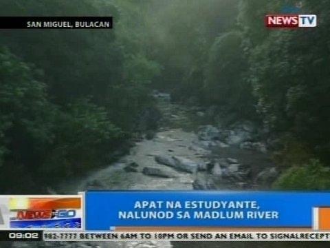 NTG: 4 na estudyante, nalunod sa Madlum River sa San Miguel, Bulacan